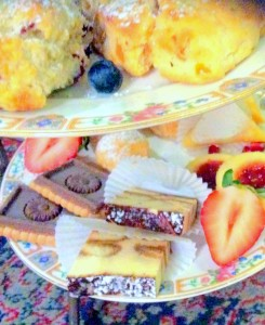Afternoon Tea for Two scones and sweets close up
